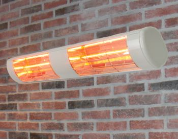 3kW White Dual Wall Mounted Quartz Halogen Bulb Electric Infrared Patio Heater - Weatherproof IP55