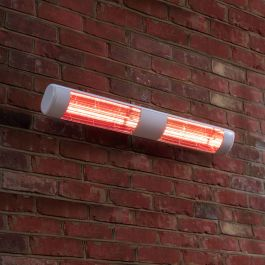 3kW IP55White Dual Wall Mounted Quartz Halogen Bulb Electric Infrared Patio Heater - Weatherproof IP55