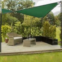 Kookaburra® 3.5m Square Green Waterproof Shade Sail Gazebo Frame and Fixing Kit