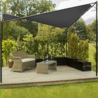 Kookaburra® 3.5m Square Charcoal Waterproof Shade Sail Gazebo Frame and Fixing Kit