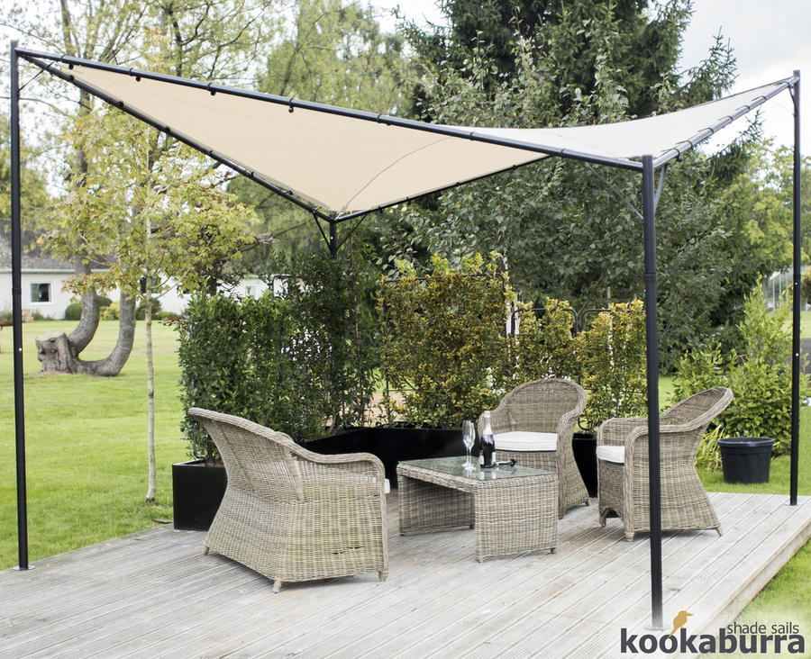 Kookaburra® 3.5m Square Ivory Waterproof Shade Sail Gazebo Frame and Fixing Kit