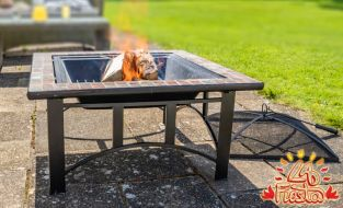 76cm Alexandria Steel and Ceramic Mosaic Firepit - by La Fiesta