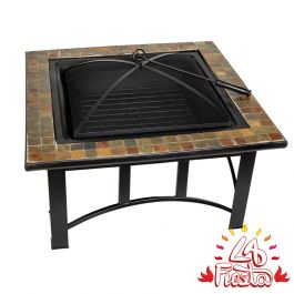 76cm Alexandria Steel and Ceramic Mosaic Square Fire Pit- by La Fiesta
