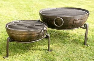 80cm Recycled Indian Fire Bowl with Grill and Stand