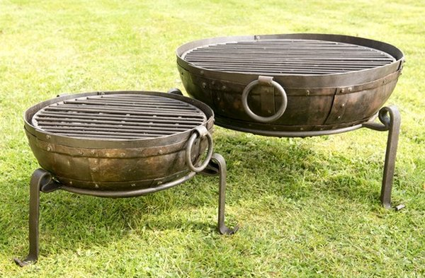 120cm Recycled Indian Fire Bowl with Grill and Stand