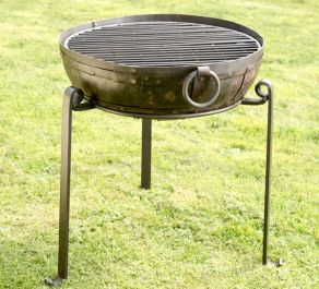 80cm Recycled Indian Fire Bowl with Grill and High/Low Stands