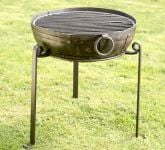 Recycled Indian Fire Bowl with Grill and High/Low Stands - Dia60cm