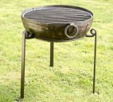 Recycled Indian Fire Bowl with Grill and High/Low Stands - Dia80cm