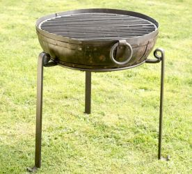 70cm Recycled Indian Fire Bowl with Grill and High/Low Stands