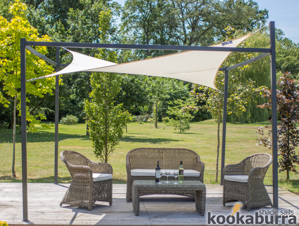 Kookaburra® 3m Square Ivory Waterproof Shade Sail With Frame and Fixing Kit
