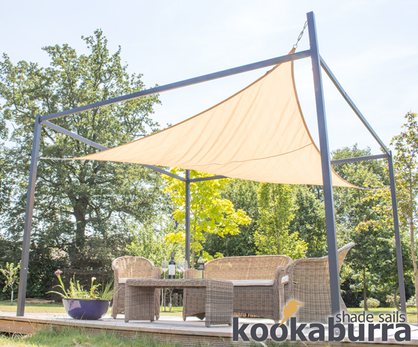 Kookaburra® 3m Square Sand Waterproof Shade Sail With Frame and Fixing Kit