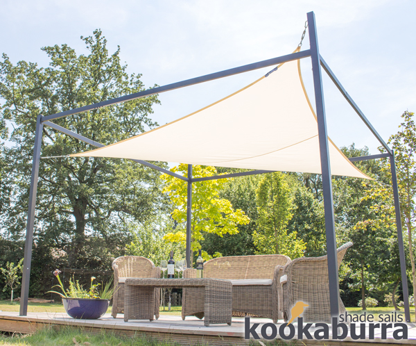 Kookaburra® 3m x 2m Rectangle Ivory Waterproof Shade Sail With Frame and Fixing Kit