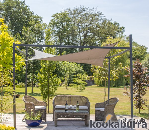 Kookaburra® 3m Square Charcoal Waterproof Shade Sail With Frame and Fixing Kit