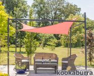 Kookaburra® 3m x 2m Rectangle Terracotta Waterproof Shade Sail With Frame and Fixing Kit