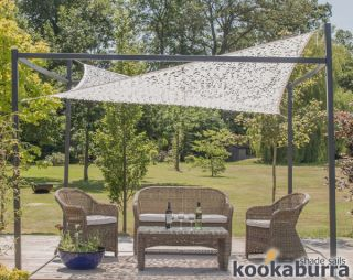 Kookaburra® 3m x 2m Rectangle Dappled Shade Sail with Frame and Fixing Kit