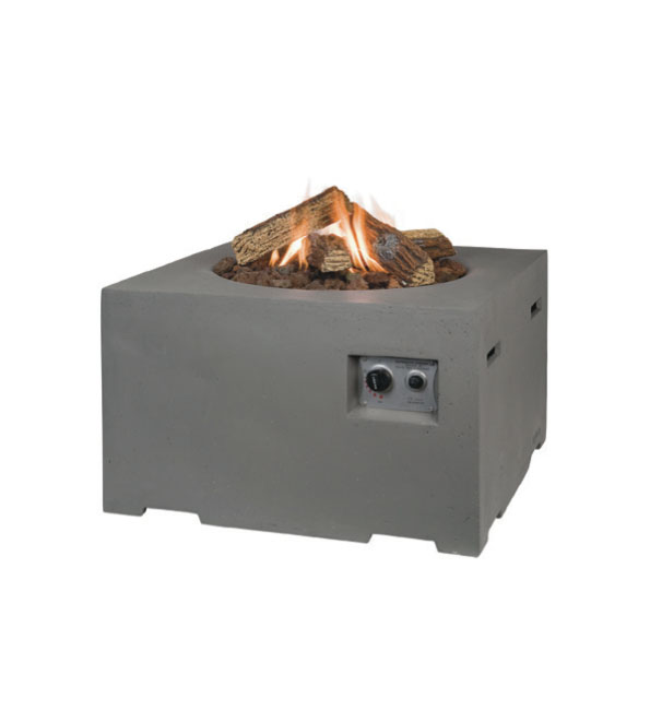 107x80cm Rectangular Gas Firepit  in Grey
