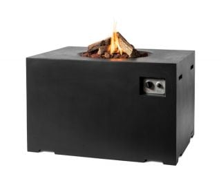 110x80cm High Dining Rectanglular Cocoon Gas Firepit in Black