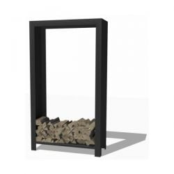 Tall Steel Wood Storage in Black