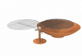 80cm Corten Steel Fire Pit with Grill and Stand