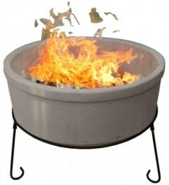 D75cm Atlas Fire Bowl in Glazed Ivory