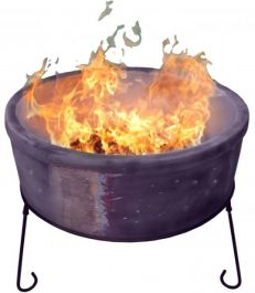 D75cm Atlas Fire Bowl in Glazed Mottled Purple