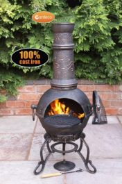 H115cm Toledo Large Chiminea with Flower Pattern