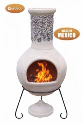 Flores - X-Large Mexican Chiminea in Beige and dark brown