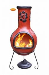 Rosas - X-Large Mexican Chiminea in Red & Black
