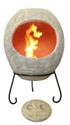 Ellipse X-Large Mexican Chiminea in Grey by Gardeco™
