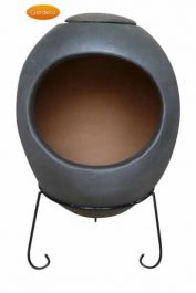 Ellipse X-Large Mexican Chiminea in Dark Grey
