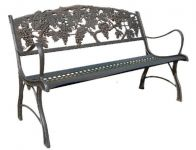 Cast-Iron Bench with Grapes Design