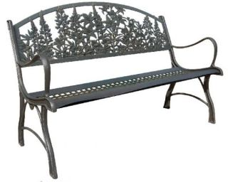 Cast-Iron Bench with Flowers Design