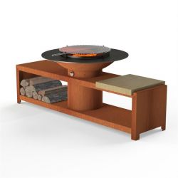 Corten Steel BBQ & Grill With Prep Station and Wood Store  - 2m (6ft 6in)