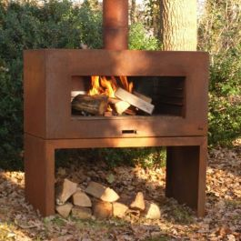 Corten Steel Outdoor Standing Fireplace With Wood Store by Adezz - 1m (3ft 3in)