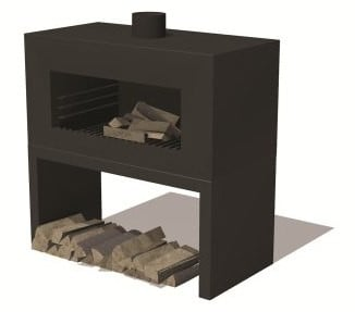 Black Coated Outdoor Standing Fireplace With Wood Store by Adezz - 1m (3ft 3in)