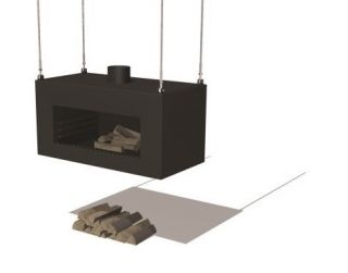 Black Coated Hanging Outdoor Fireplace by Adezz - 1m (3ft 3in)