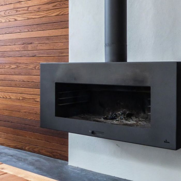Black Coated Wall Hanging Outdoor Fireplace by Adezz - 1m (3ft 3in)