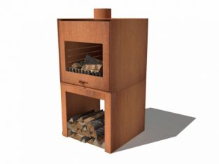 Corten Steel Standing Outdoor Fireplace With Wood Store  - 105cm (3ft 5in)