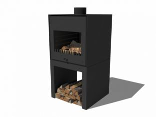 Black Coated Standing Outdoor Fireplace With Wood Store by Adezz - 105cm (3ft 5in)