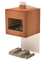 Corten Steel Wall Hanging Outdoor Fireplace  - 55cm (1ft 9in)