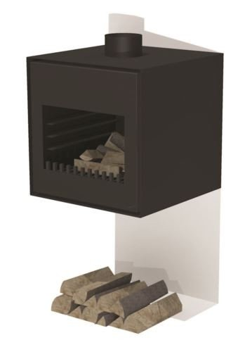 Black Coated Wall Hanging Outdoor Fireplace  - 55cm (1ft 9in)