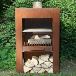 Corten Steel Standing Outdoor Fireplace With Wood Store  - 1m (3ft 3in)