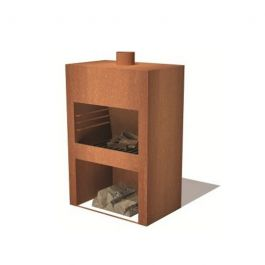 Corten Steel Standing Outdoor Fireplace With Wood Store  - 1.2m (3ft 11in)