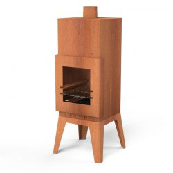 Corten Steel Square Outdoor Fireplace  - 1.5m (4ft 11in)