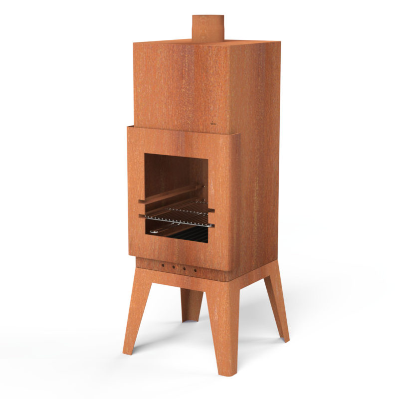 Corten Steel Square Outdoor Fireplace by Adezz - 1.5m (4ft 11in)