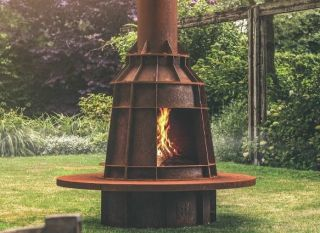Corten Steel Outdoor Log Burner  - 2.2m (7ft 2in)