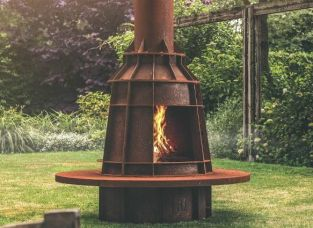 Corten Steel Outdoor Log Burner by Adezz - 2.2m (7ft 2in)
