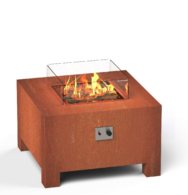 Corten Steel Gas Fire Table  - 80cm (2ft 7in)