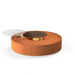 Corten Steel Round Fire Table With Grill  - 1.25m (4ft 2in)