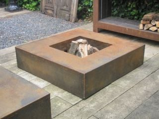 Corten Steel Square Fire Table by Adezz - 1.2m (4ft 1in)